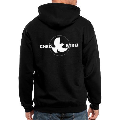 Chris Strei BlackBird Logo (white) - Men's Zip Hoodie