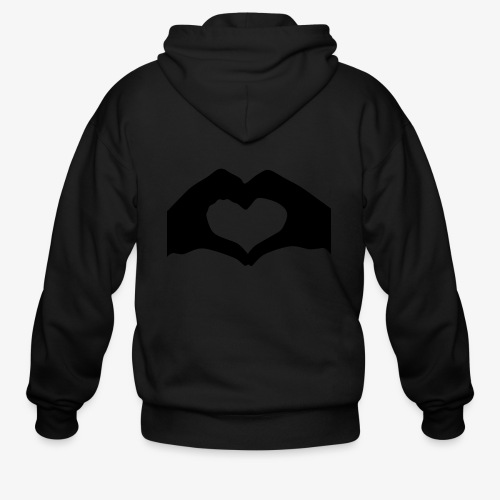 Silhouette Heart Hands | Mousepad - Men's Zip Hoodie