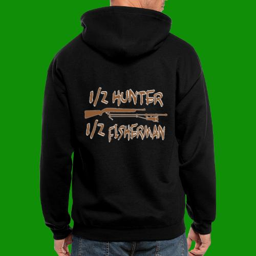 1/2 Hunter 1/2 Fisherman - Men's Zip Hoodie