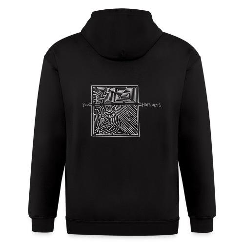 Happiness (White Print) - Men's Zip Hoodie