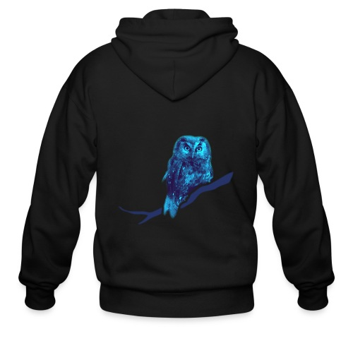 owl bird fowl blue - Men's Zip Hoodie