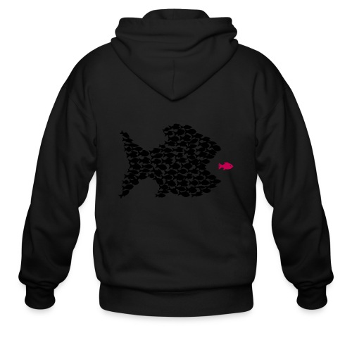 fish swarm comic hunt hunter ocean hunting fishes - Men's Zip Hoodie