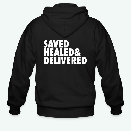 SAVED HEALED AND DELIVERED - Men's Zip Hoodie