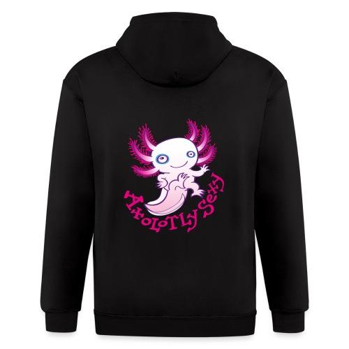 Cute funny axolotl posing, waving and smiling - Men's Zip Hoodie