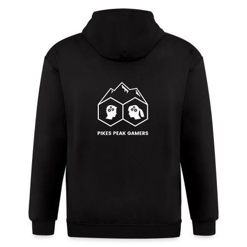Pikes Peak Gamers Logo (Transparent White) - Men's Zip Hoodie