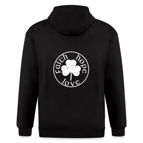 Irish Shamrock Faith Hope Love - Men's Zip Hoodie