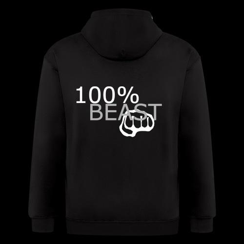 100% beast logo white - Men's Zip Hoodie