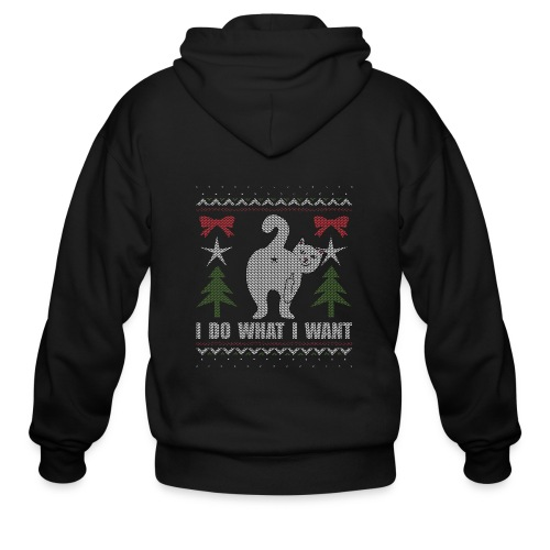 Ugly Christmas Sweater I Do What I Want Cat - Men's Zip Hoodie