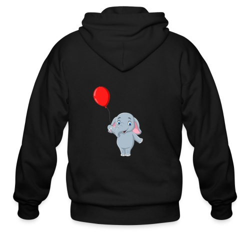 Baby Elephant Holding A Balloon - Men's Zip Hoodie