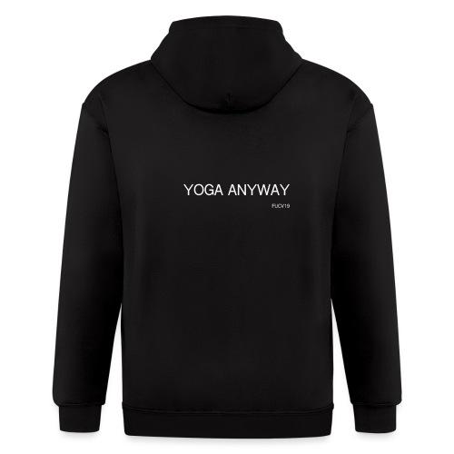 YOGA WHITE font - Men's Zip Hoodie