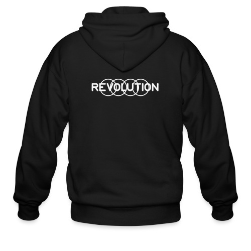 White Revolution Logo - Men's Zip Hoodie