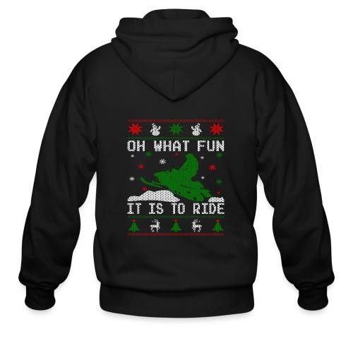 Oh What Fun Snowmobile Ugly Sweater style - Men's Zip Hoodie