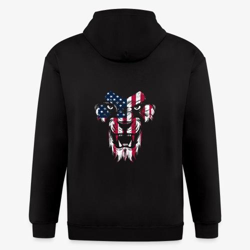 American Flag Lion - Men's Zip Hoodie