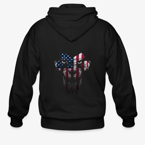 American Flag Lion Shirt - Men's Zip Hoodie