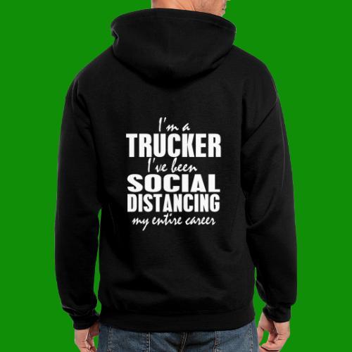 Social Distancing Trucker - Men's Zip Hoodie