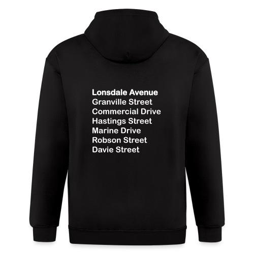 Street Names White Text - Men's Zip Hoodie