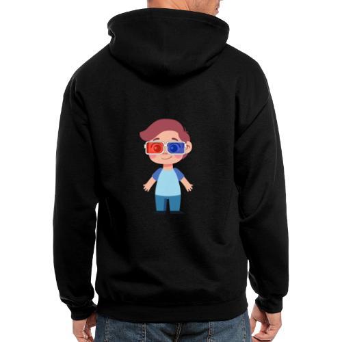 Boy with eye 3D glasses - Men's Zip Hoodie