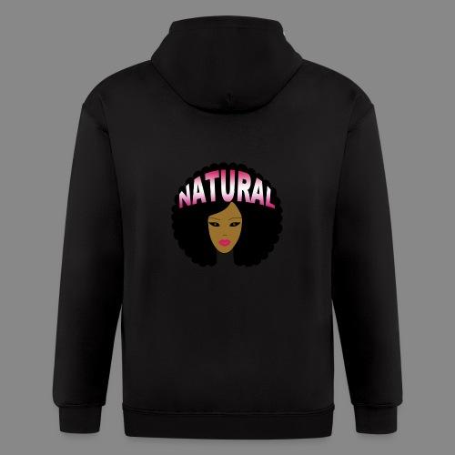 Natural Afro (Pink) - Men's Zip Hoodie