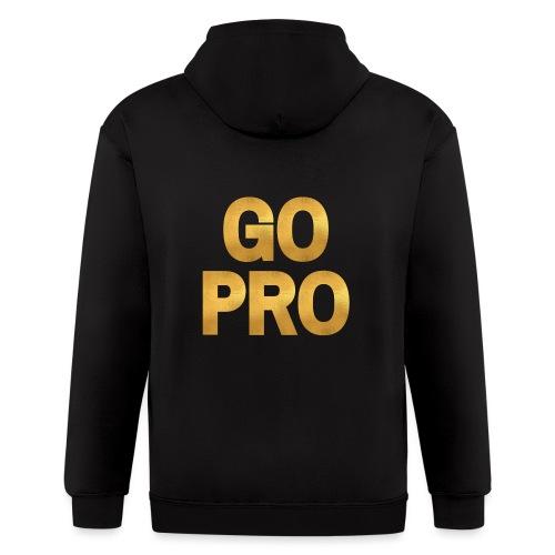 GO PRO - Gold Foil Look - Men's Zip Hoodie
