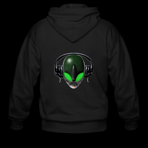 Reptoid Green Alien Face DJ Music Lover - Friendly - Men's Zip Hoodie