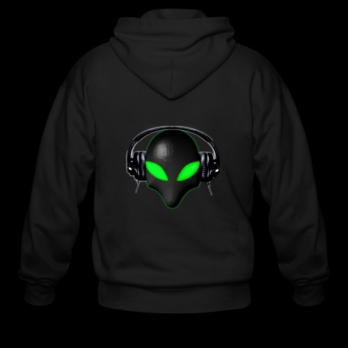 Alien Bug Face Green Eyes in DJ Headphones - Men's Zip Hoodie