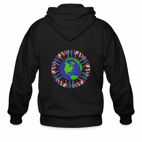 Geometric Art/Human Abstract/Earth Globe - Men's Zip Hoodie