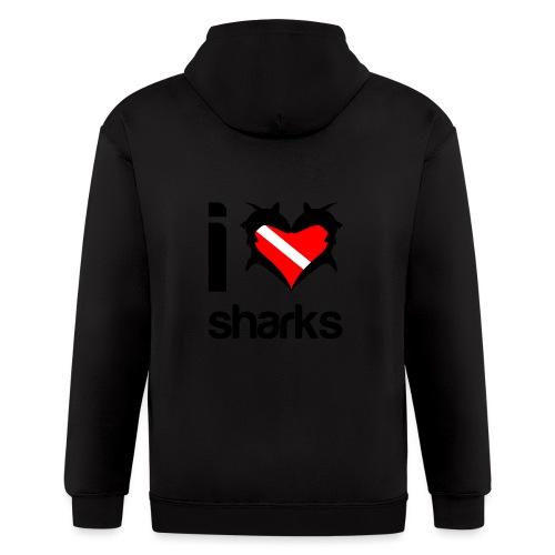 I Love Sharks - Men's Zip Hoodie