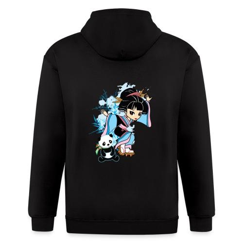 Cartoon Kawaii Geisha Panda Ladies T-shirt by - Men's Zip Hoodie