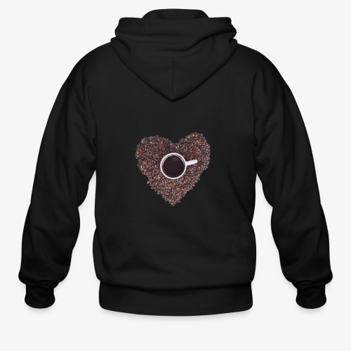 I Heart Coffee Black/White Mug - Men's Zip Hoodie