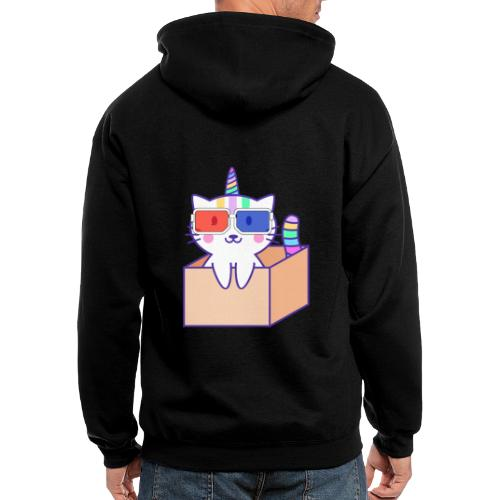 Unicorn cat with 3D glasses doing Vision Therapy! - Men's Zip Hoodie