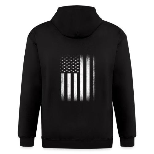 US Flag Distressed - Men's Zip Hoodie
