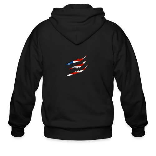 3D American Flag Claw Marks T-shirt for Men - Men's Zip Hoodie