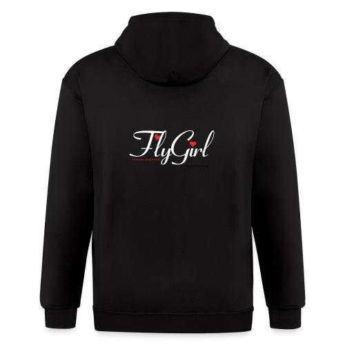 FlyGirlTextWhite W Black png - Men's Zip Hoodie