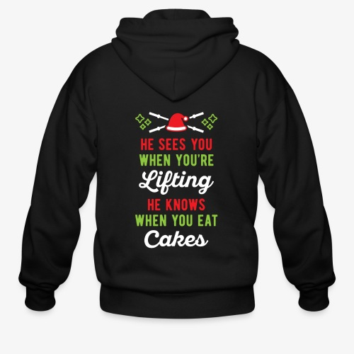 He Sees You When You're Lifting He Knows When You - Men's Zip Hoodie