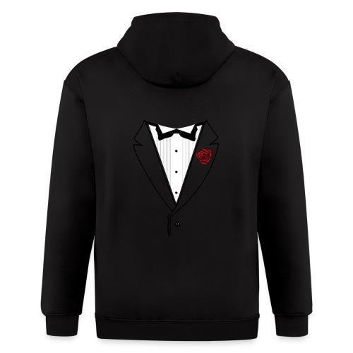 Tuxedo w/Black Lined Lapel - Men's Zip Hoodie