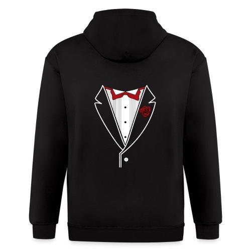 Tuxedo with Red bow tie - Men's Zip Hoodie