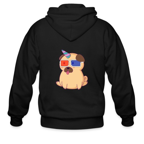 Dog with 3D glasses doing Vision Therapy! - Men's Zip Hoodie