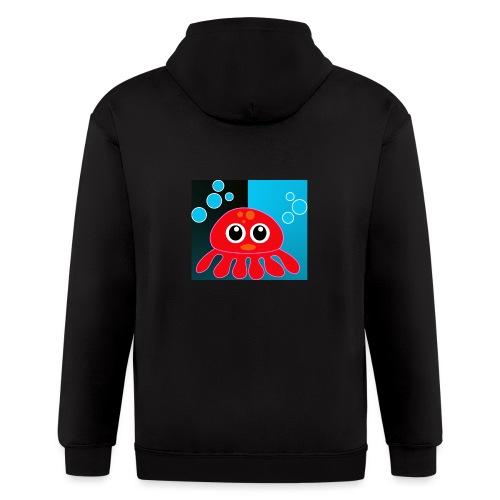 Red Octopus on Blue/Black - Men's Zip Hoodie