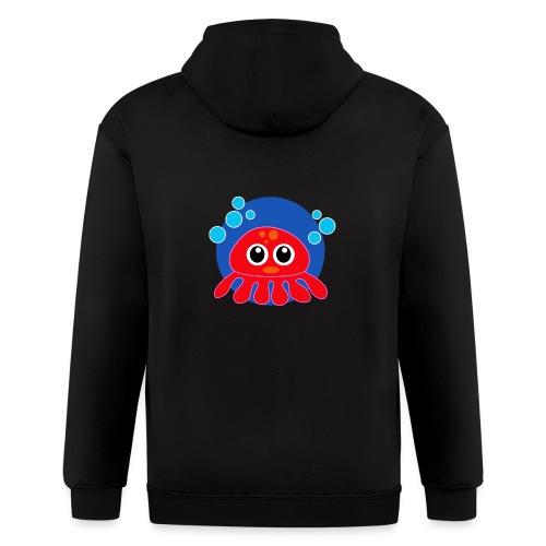 Red Octopus on Blue Circle - Men's Zip Hoodie