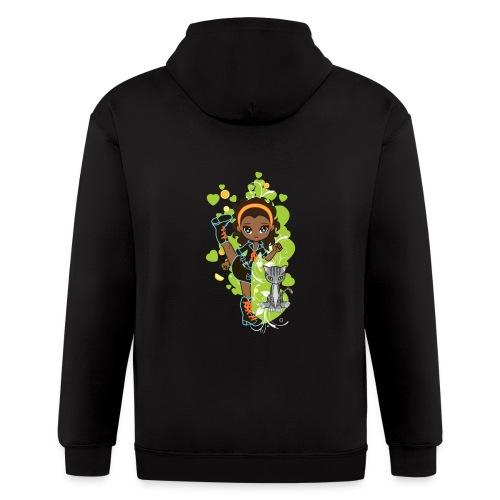 Aisha the African American Chibi Girl - Men's Zip Hoodie