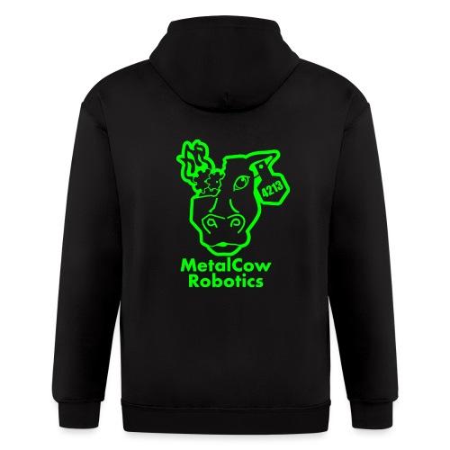 MetalCowLogo GreenOutline - Men's Zip Hoodie