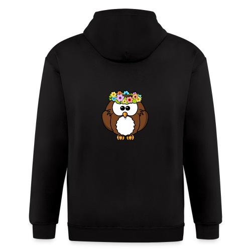 Owl With Flowers On Head T-Shirt - Men's Zip Hoodie