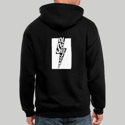Ol' School Johnny Black and White Lightning Bolt - Men's Zip Hoodie