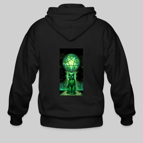 Green Satanic Cat and Pentagram Stained Glass - Men's Zip Hoodie