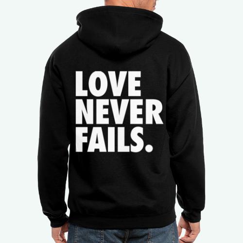 LOVE NEVER FAILS - Men's Zip Hoodie
