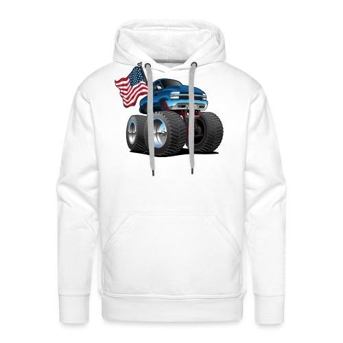 Monster Pickup Truck with USA Flag Cartoon - Men's Premium Hoodie