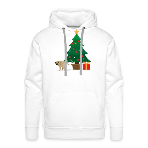 Pug and Gift under the Christmas Tree - Men's Premium Hoodie