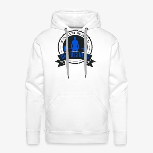 TRAIN HARD CLASSIC HOODIE - Gray & Blue - Men's Premium Hoodie