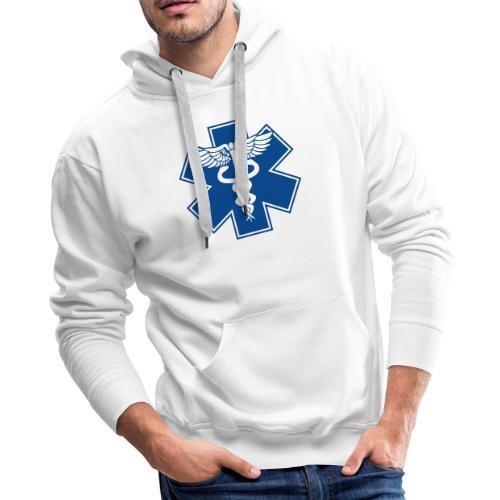 EMT Health Care Caduceus Blue Medical Symbol - Men's Premium Hoodie
