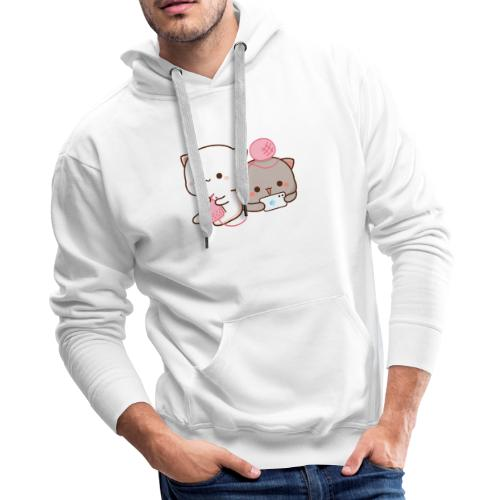 Peach Knitting with Goma - Mochi Peach Cat - Men's Premium Hoodie
